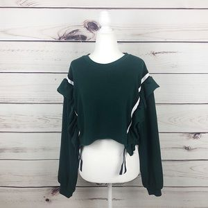 Urban Outfitters Green Ruffle Crop Knit Sweater